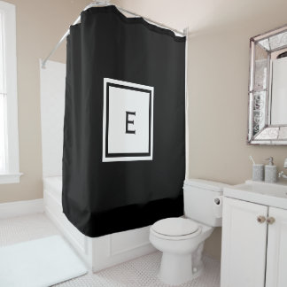 Custom Monogrammed Black and White Shower Curtain