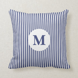 Custom Monogrammed Blue and White Throw Pillow