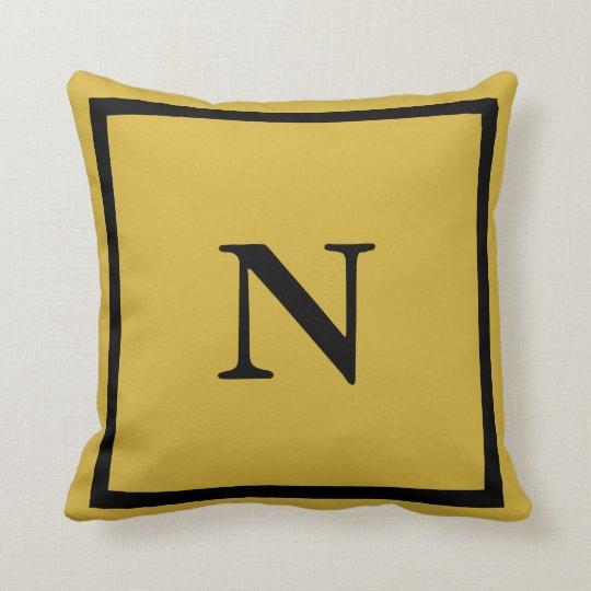 Custom Monogrammed Gold Throw Pillow