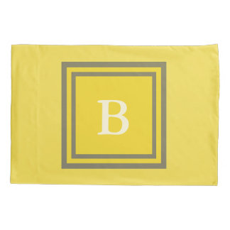 Custom Monogrammed Gray and Yellow Pillowcase