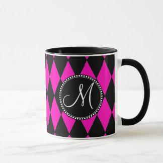Custom Monogrammed Initial Hot Pink Black Diamonds