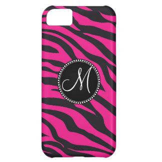 Custom Monogrammed Initial Hot Pink Black Zebra iPhone 5C Case
