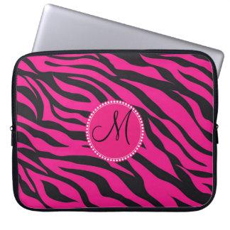 Custom Monogrammed Initial Hot Pink Black Zebra Computer Sleeve