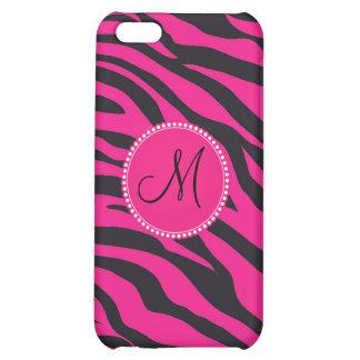 Custom Monogrammed Initial Hot Pink Black Zebra iPhone 5C Covers