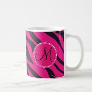 Custom Monogrammed Initial Hot Pink Black Zebra Basic White Mug