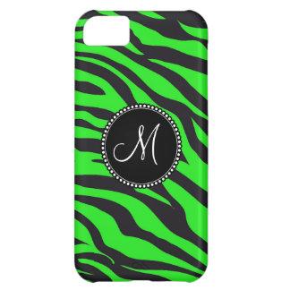 Custom Monogrammed Initial Neon Green Black Zebra iPhone 5C Cover