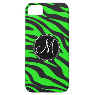 Custom Monogrammed Initial Neon Green Black Zebra iPhone 5 Case