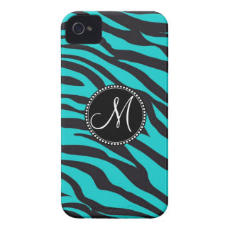 Custom Monogrammed Initial Teal Black Zebra Stripe iPhone 4 Case-Mate Cases