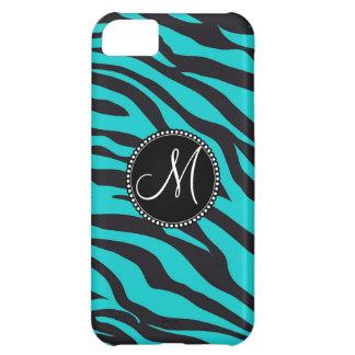 Custom Monogrammed Initial Teal Black Zebra Stripe iPhone 5C Cases