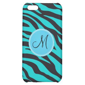 Custom Monogrammed Initial Teal Black Zebra Stripe Case For iPhone 5C
