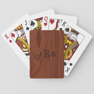 Custom Monogrammed Initials | Mahogany Wood Look Playing Cards