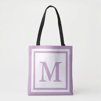 Custom Monogrammed Lilac and White Tote Bag