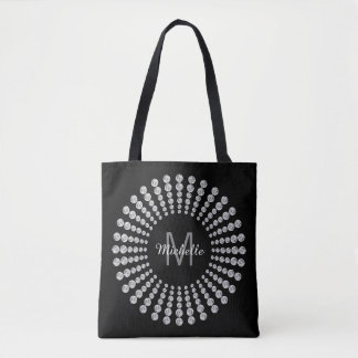 Custom Monogrammed Modern Black with Diamonds Tote Bag
