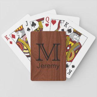 Custom Monogrammed Name Initial Mahogany Wood Look Playing Cards