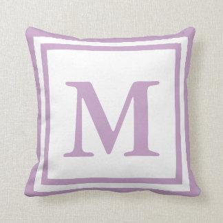 Custom Monogrammed White and Lilac Cushion