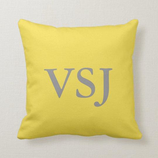 Custom Monogrammed Yellow Throw Pillow