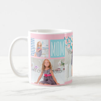 Custom Mothers Day Photo Collage Pink/Blue Coffee Mug