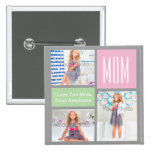Custom Mothers Day Photo Collage Pink/Green/Grey 15 Cm Square Badge