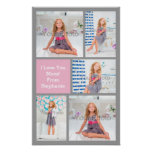 Custom Mothers Day Photo Collage Pink/Green/Grey Poster