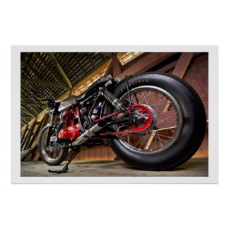 Custom Motorcycle with Red Detail Poster
