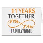 Custom Mr and Mrs 11th Anniversary Greeting Card