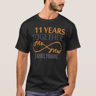 Custom Mr and Mrs 11th Anniversary T-Shirt