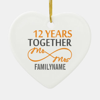Custom Mr and Mrs 12th Anniversary Christmas Ornament