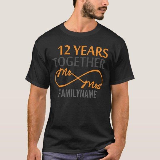 Custom Mr and Mrs 12th Anniversary T-Shirt