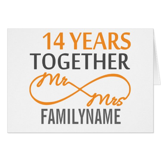 Custom Mr and Mrs 14th Anniversary Card
