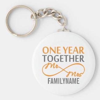 Custom Mr and Mrs 1st Anniversary Key Chains