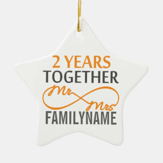 Custom Mr and Mrs 2nd Anniversary Christmas Tree Ornaments