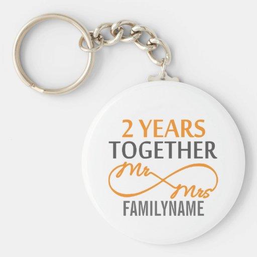 Custom Mr and Mrs 2nd Anniversary Keychain