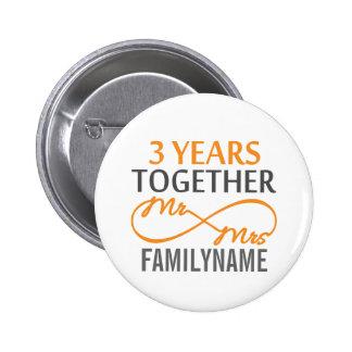 Custom Mr and Mrs 3rd Anniversary 6 Cm Round Badge