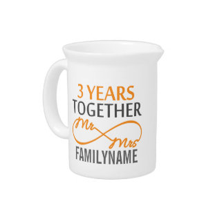 Custom Mr and Mrs 3rd Anniversary Beverage Pitcher