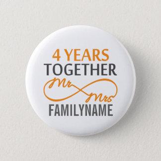 Custom Mr and Mrs 4th Anniversary 6 Cm Round Badge