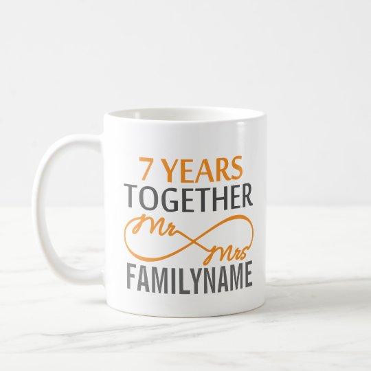 Custom Mr and Mrs 7th Anniversary Coffee Mug