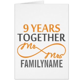 Custom Mr and Mrs 9th Anniversary Card