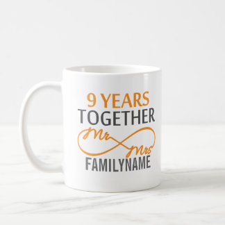 Custom Mr and Mrs 9th Anniversary Coffee Mug