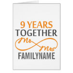 Custom Mr and Mrs 9th Anniversary Greeting Card
