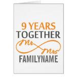 Custom Mr and Mrs 9th Anniversary Greeting Card