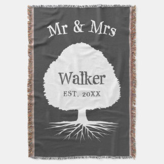 Custom mr and mrs family name ancestry tree throw blanket