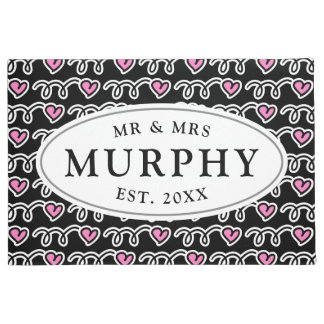 Custom mr and mrs pink heart pattern welcome doormat