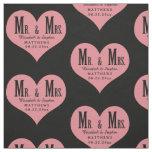 Custom Mr. and Mrs. Wedding Black Heart Template Fabric