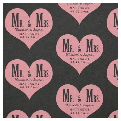 Custom Mr. and Mrs. Wedding Black Heart Template