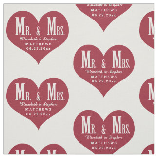 Custom Mr. and Mrs. Wedding White Heart Template Fabric