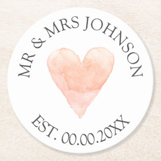 Custom mr mrs coral heart wedding party coasters