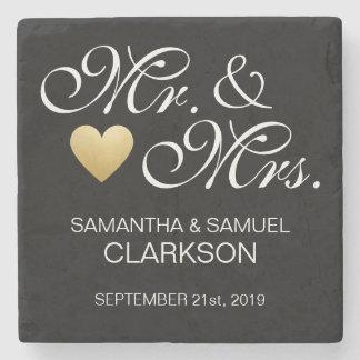Custom MR. & MRS. White Black Heart Wedding Favors Stone Coaster
