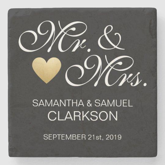 Custom MR. & MRS. White Black Heart Wedding