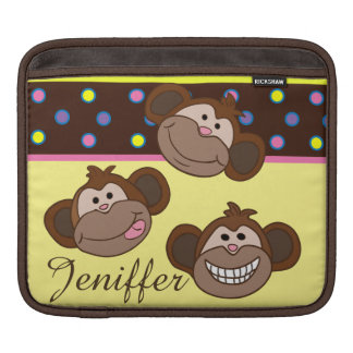 Custom multi color polka dots with smiling monkeys sleeves for iPads