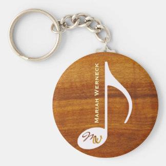 custom music note on wood key ring